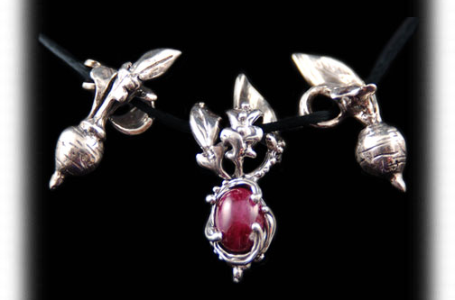 Crystal Hartman, Ruby Radish Pendant, sterling and ruby
