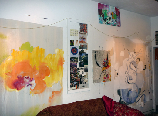 Crystal Hartman's studio, paintings in progress.
