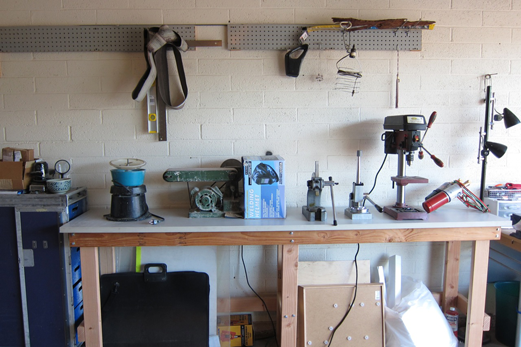 Ashley Weber's Studio: Outside Bench with Tools