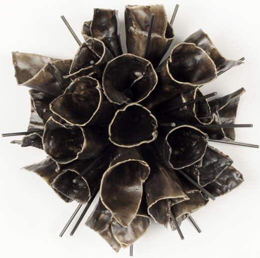 "Brenda Mallory, Explosion (dark), 2011, Waxed cloth, nuts, bolts, steel, 12"" x 12"" x 12"""