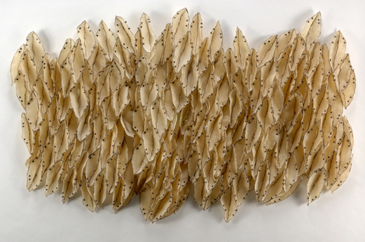 "Brenda Mallory, Undulations, 2009, Waxed cloth, nuts, bolts, welded steel, 48"" x 70"" x 6"""
