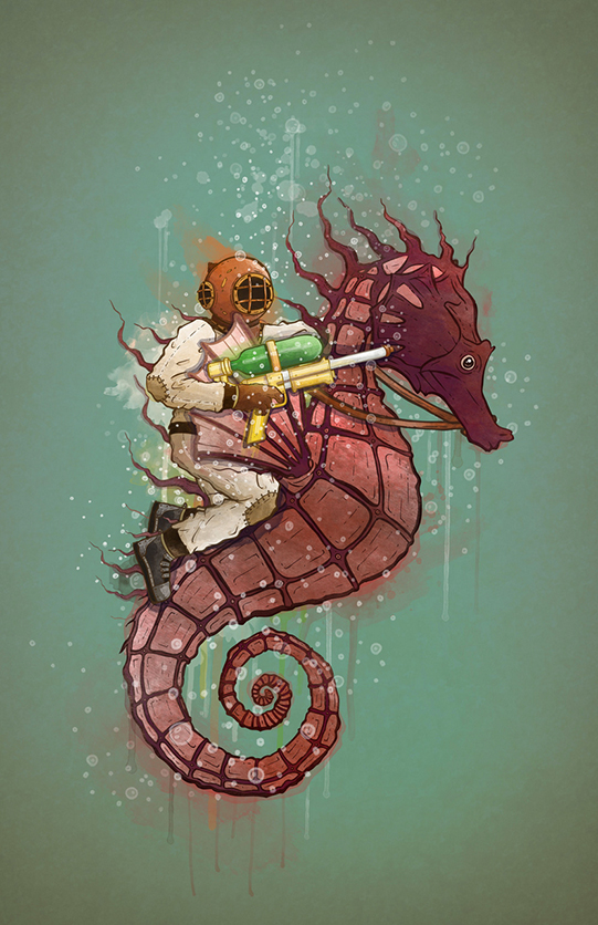 Seahorse Underwater Warrior by Taylor Rose