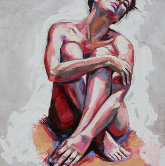 "Sheila Dunn ""Nude in White"", oil on board, 36"" x 36"""