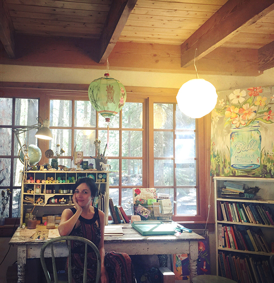 Katie Daisy in her studio
