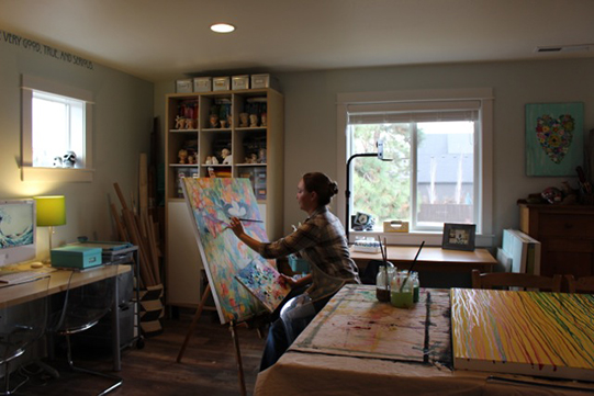 MaryLea Harris in her studio